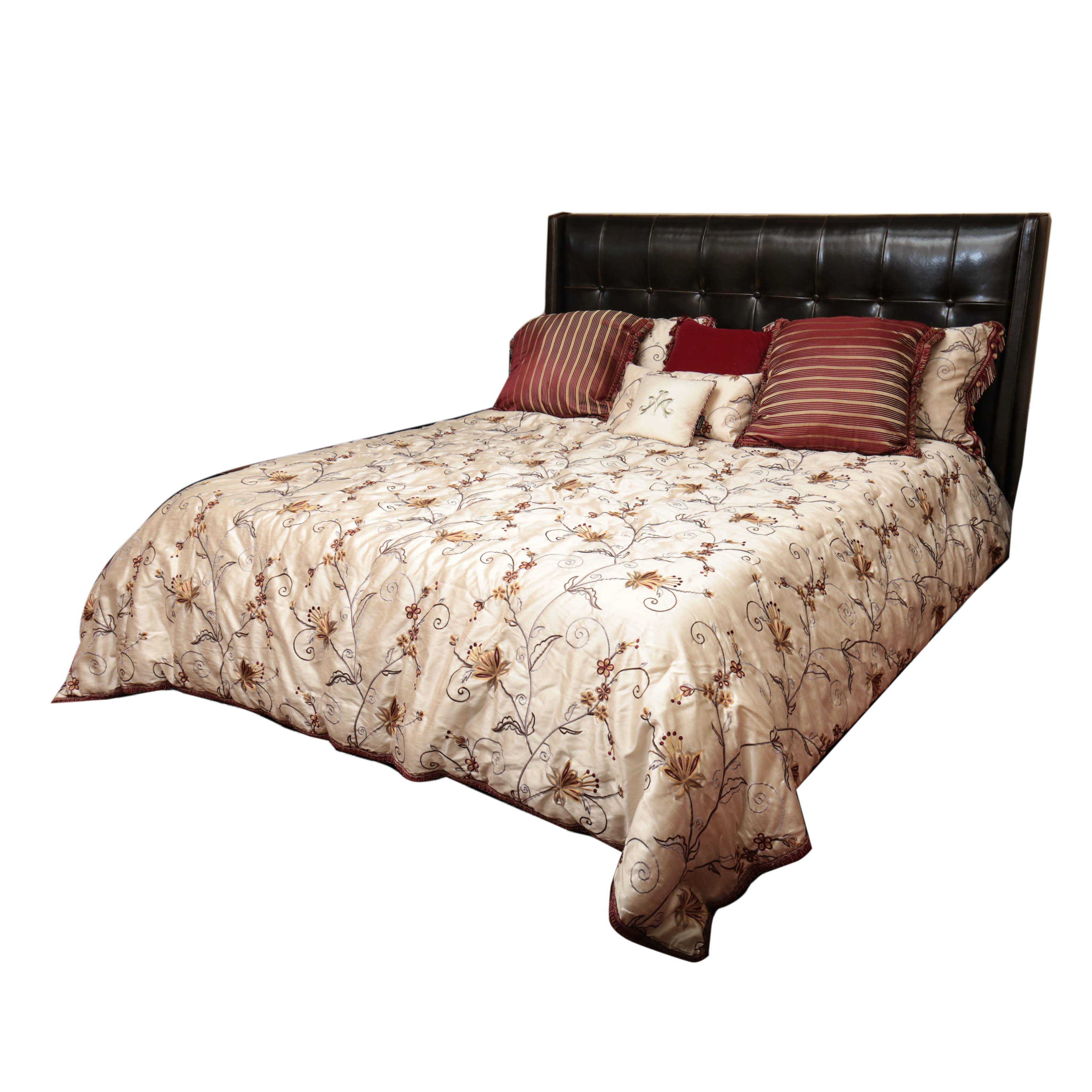King Size Leather Platform Bed with Bedding