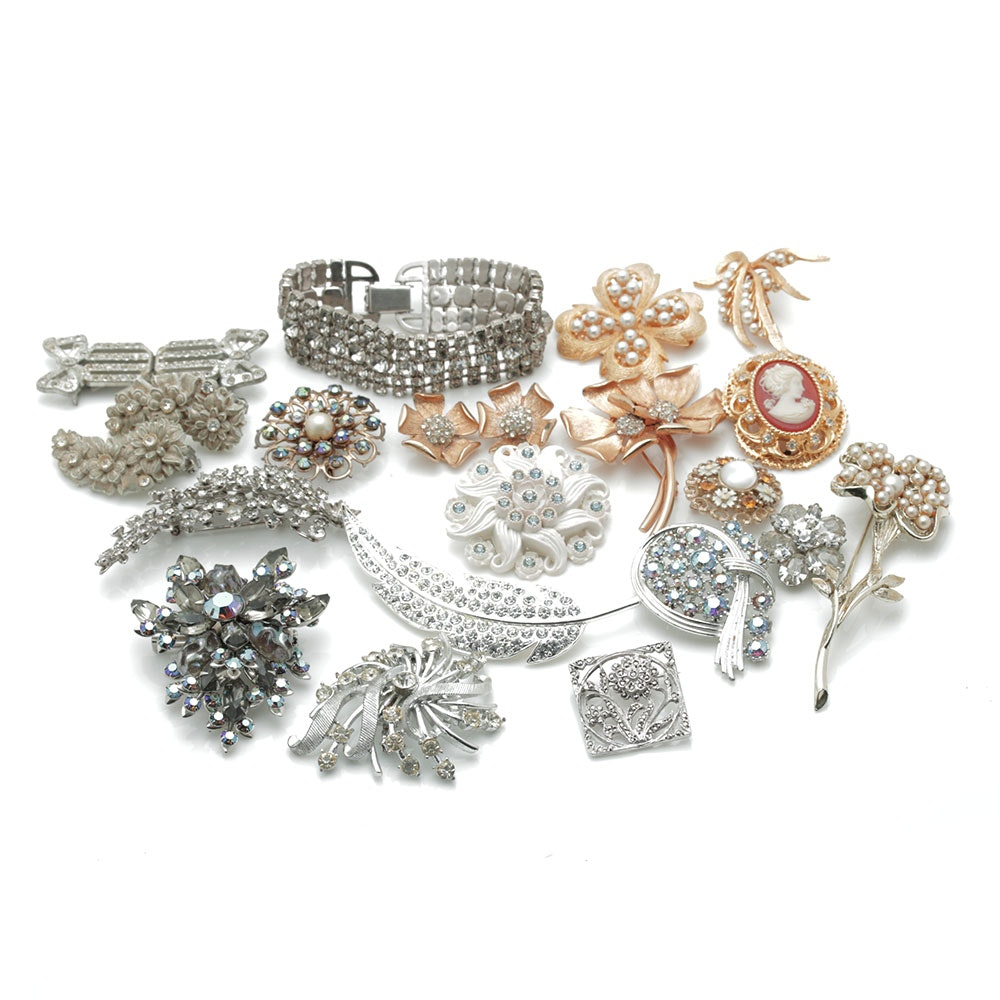 Assortment of Gold & Silver Tone Brooches with Rhinestones and Faux Pearls