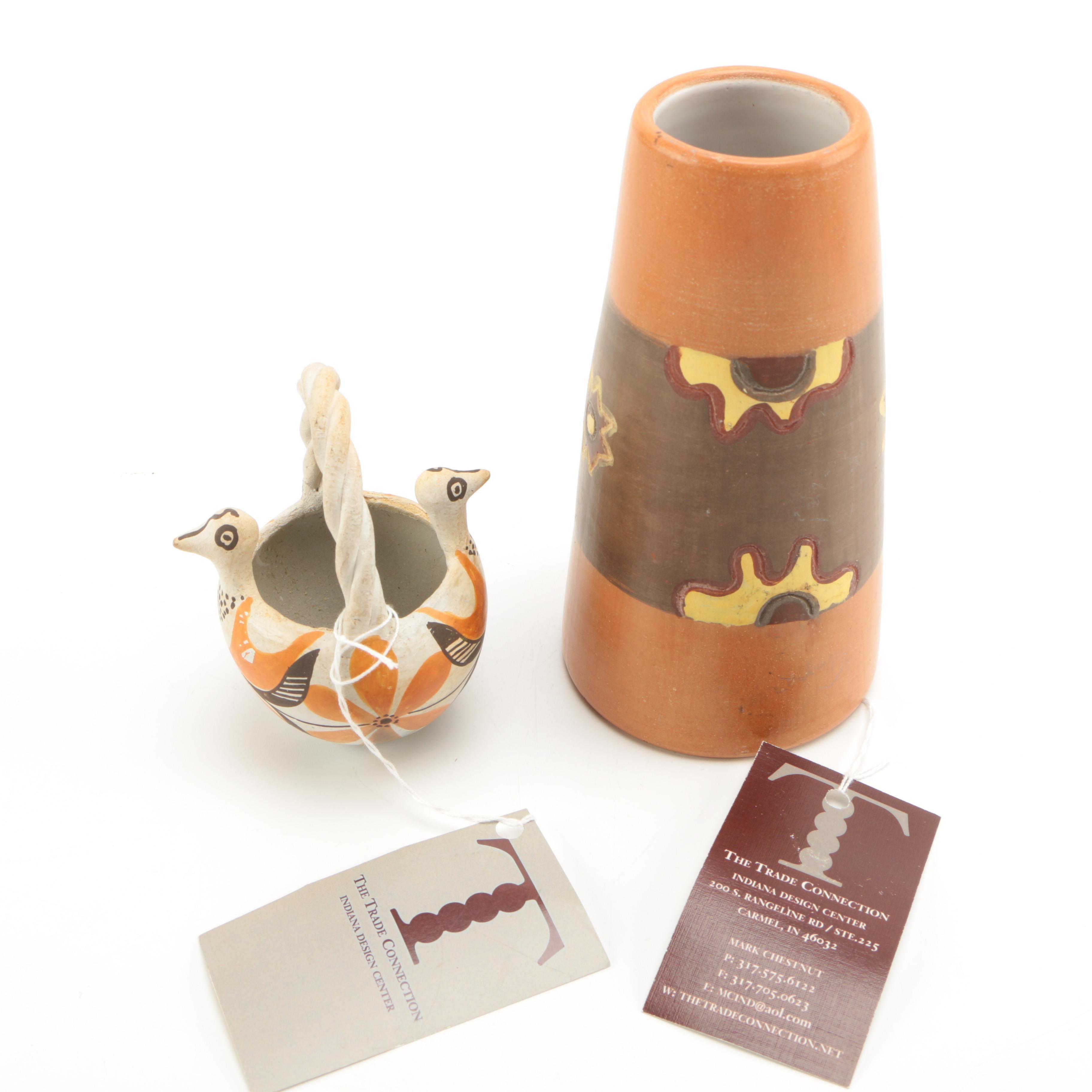 Acoma Pueblo Ceramic Miniature and Urubamba Vase