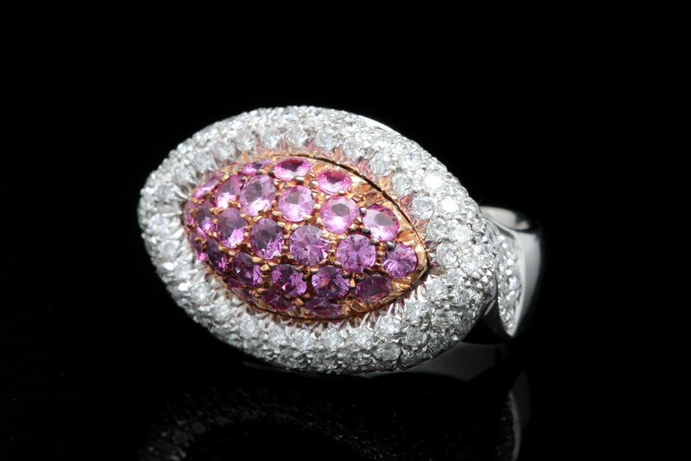 18K White Gold, 1.80 CTW Pink Sapphire, and 2.97 CTW Diamond  Cocktail Ring