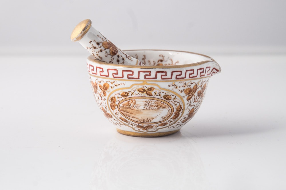Antique Porcelain Mortar & Pestle