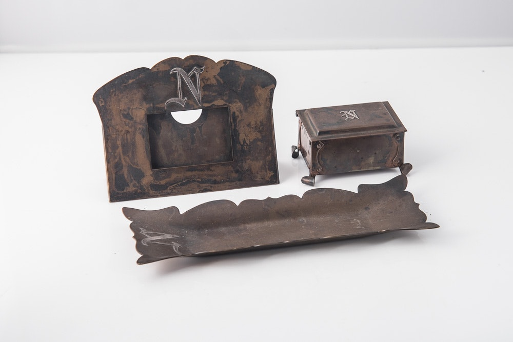 Arts & Crafts Copper and Silver Desk Set