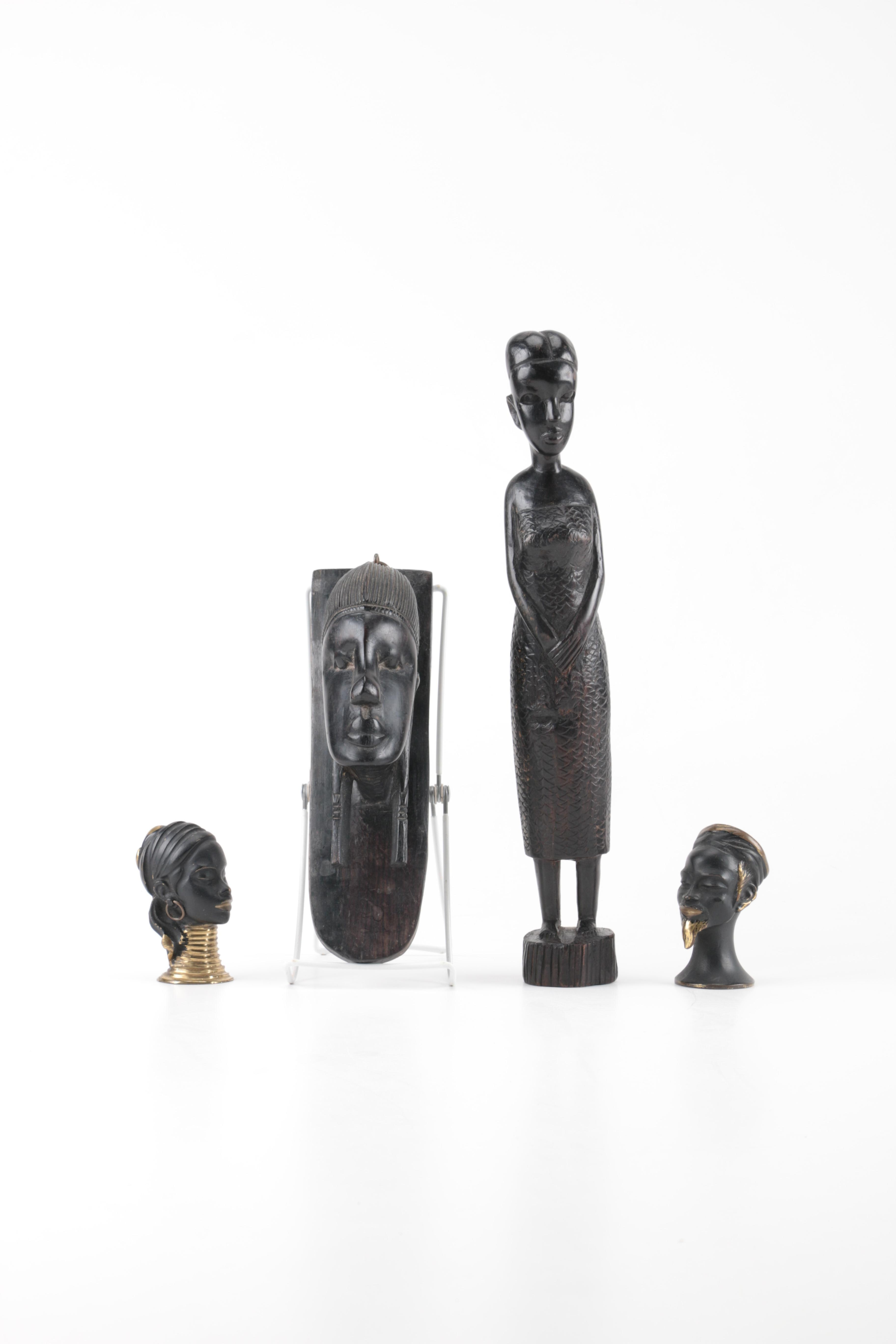 Assorted African Metal and Wood Sculptures