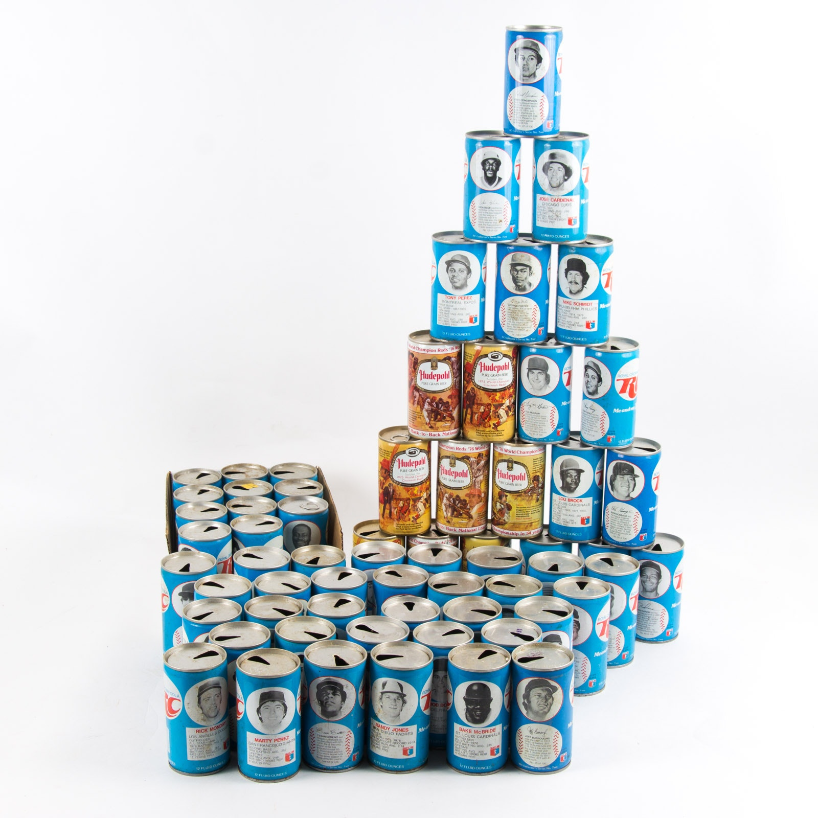 1970s Sports Themed RC Cola and Hudephohl Cans, Including Baseball, Football, and Basketball Players