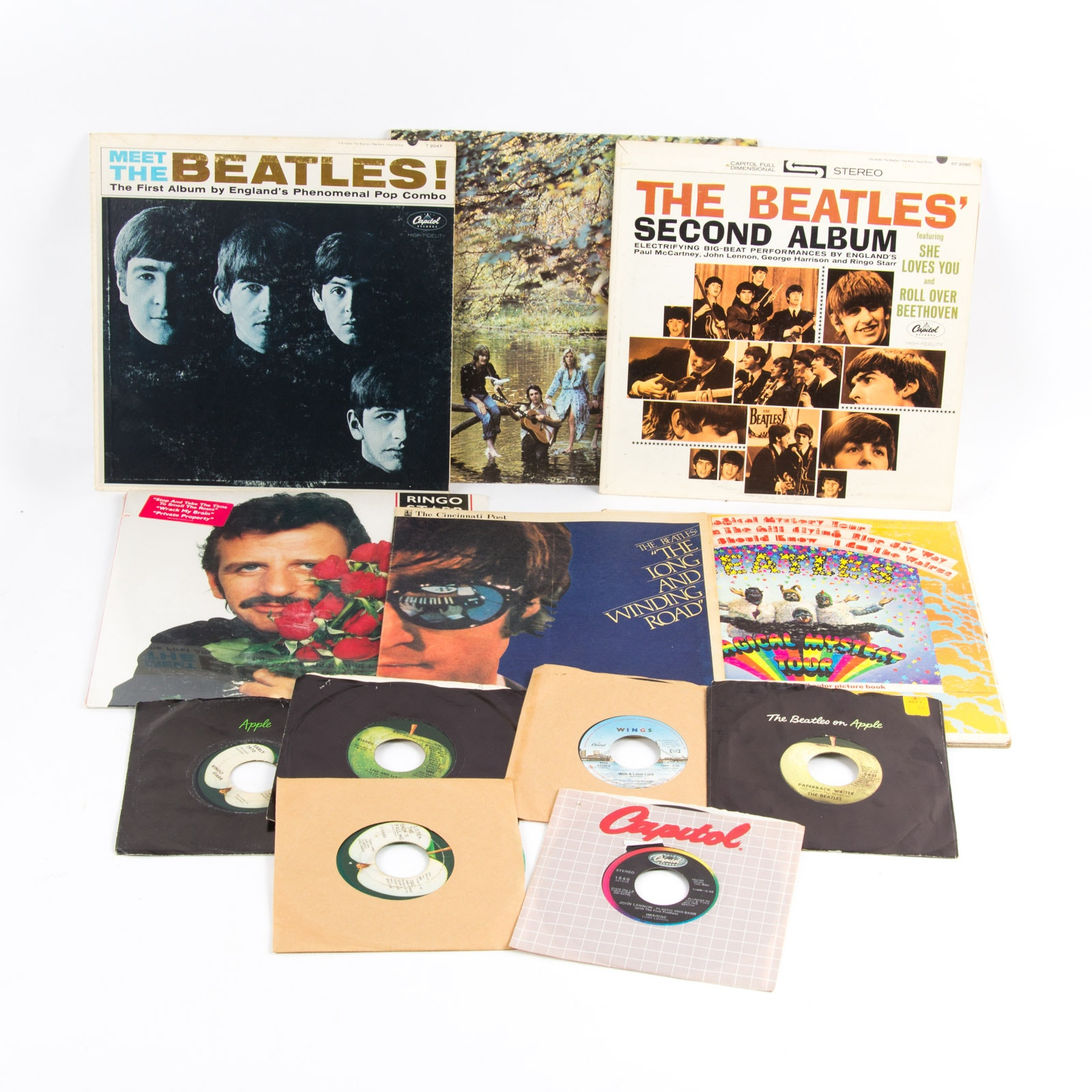 Beatles and Related LPs and 45 rpm Singles