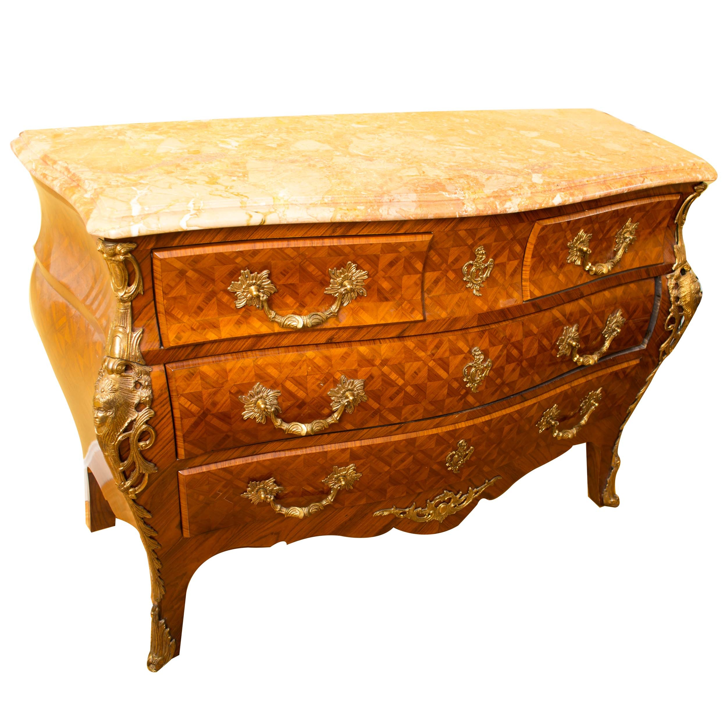 Louis XV Style Marble Top Bombe Chest