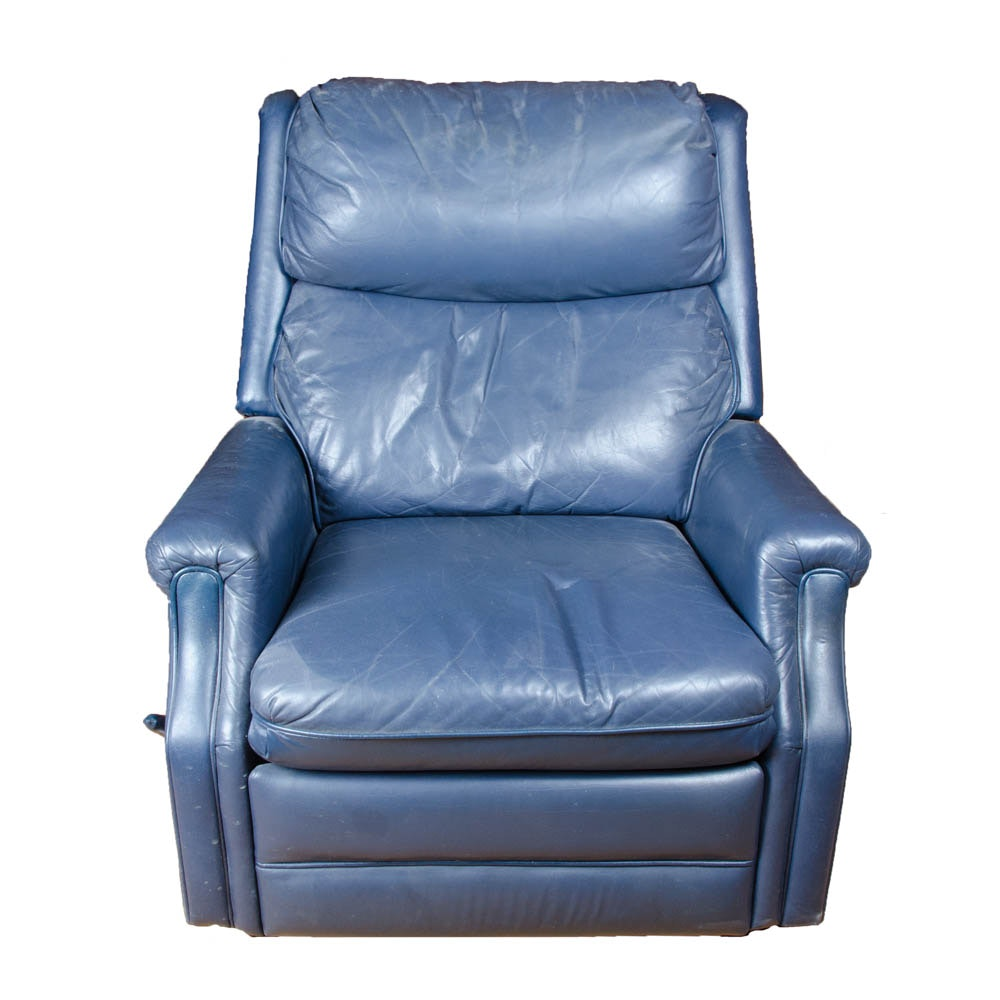 Blue Leather Recliner by Action Lane