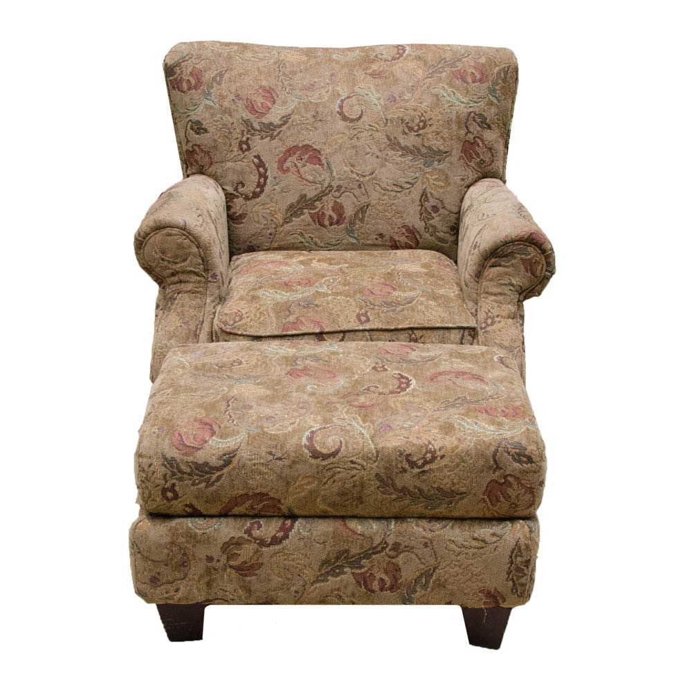 Paisley Armchair with Matching Footstool
