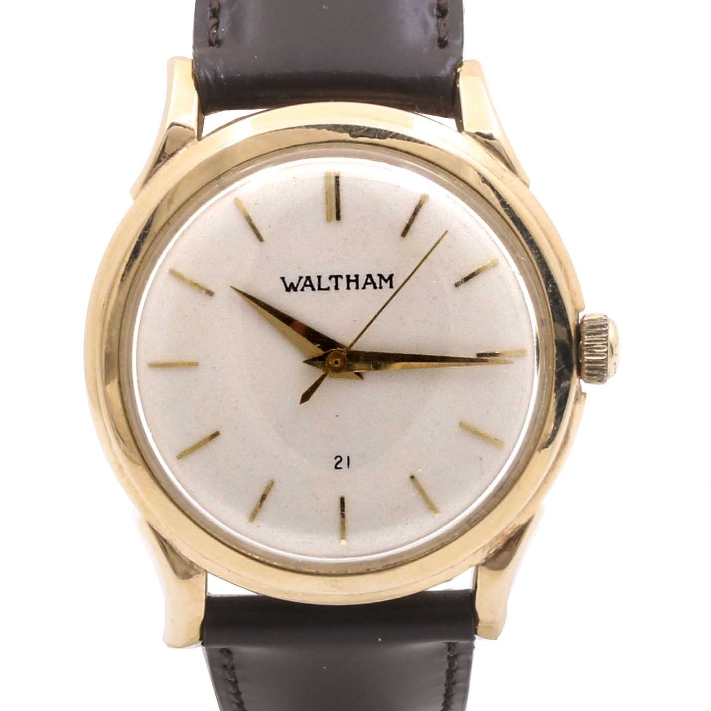 Waltham 14K Yellow Gold Wristwatch with Leather Strap