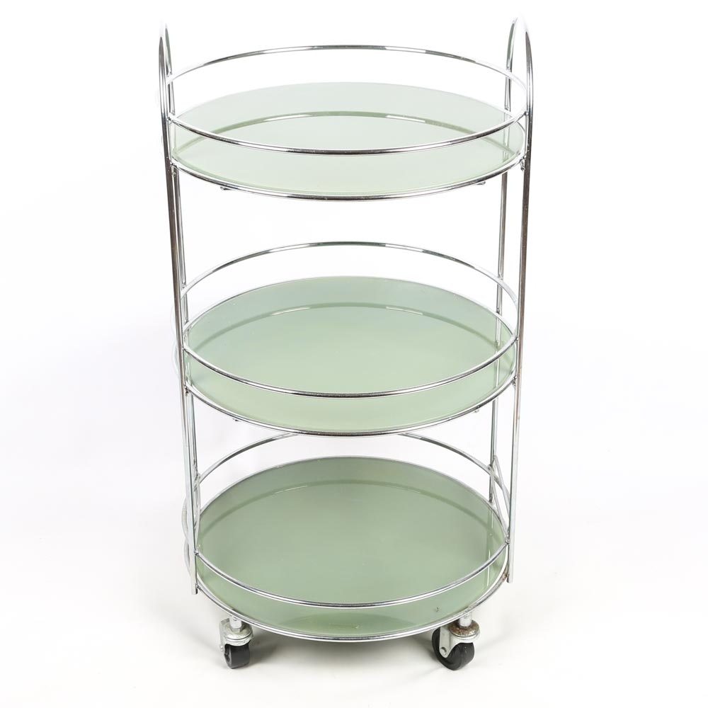 Art Deco Style Tempered Glass Rolling Cart