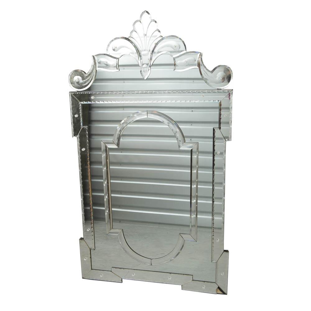 "Mirror Fair Palladian-Style ""Venetian"" Glass Wall Mirror"