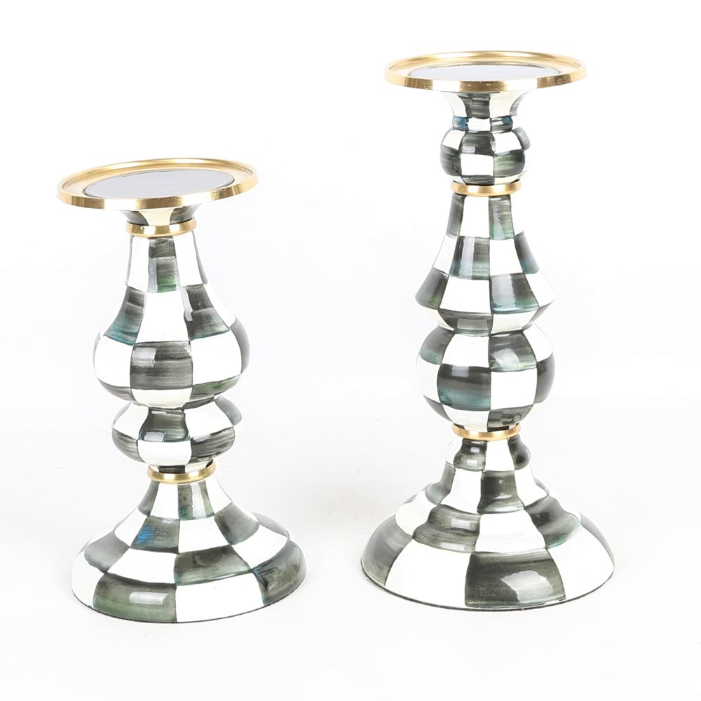 "MacKenzie-Childs ""Courtly Check"" Enamel Candle Holders"