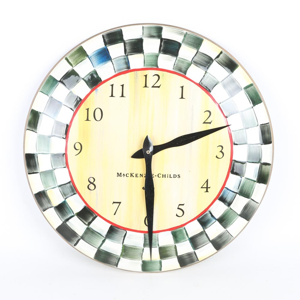 """MacKenzie-Childs """"Courtly Check"""" Wall Clock"""