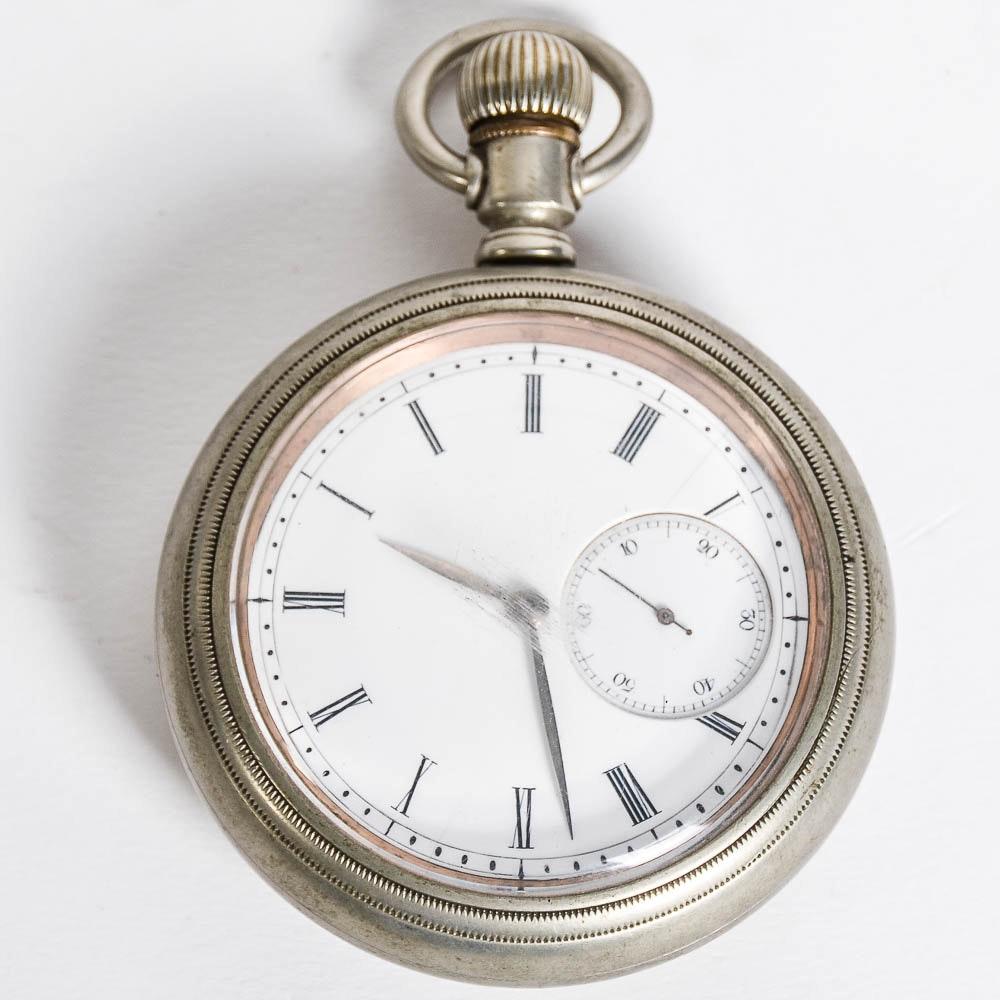 Antique 1874 Columbus Watch Co. Silveroid Pocket Watch