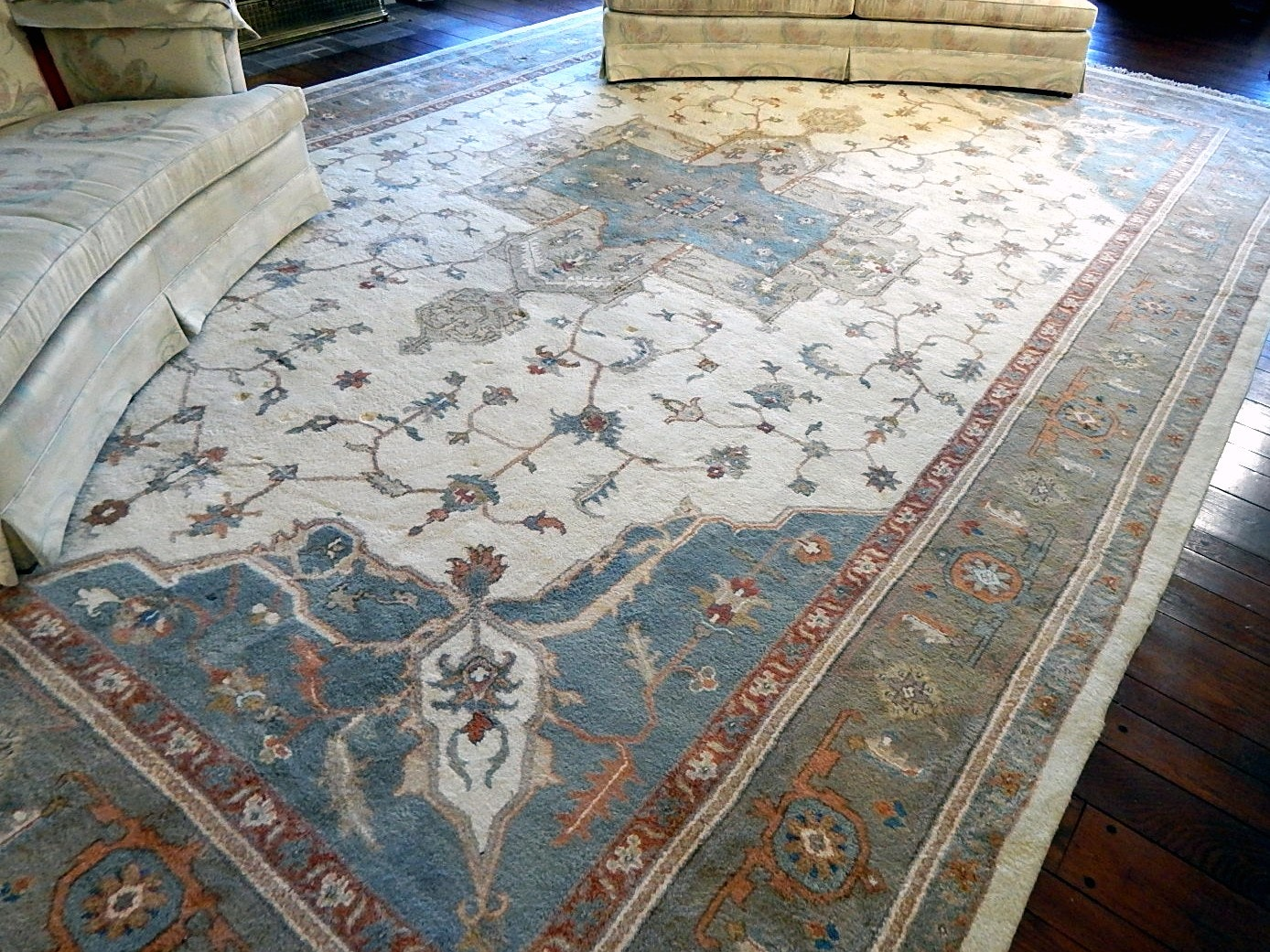 Large Hand-Knotted Room Size Indian Area Rug