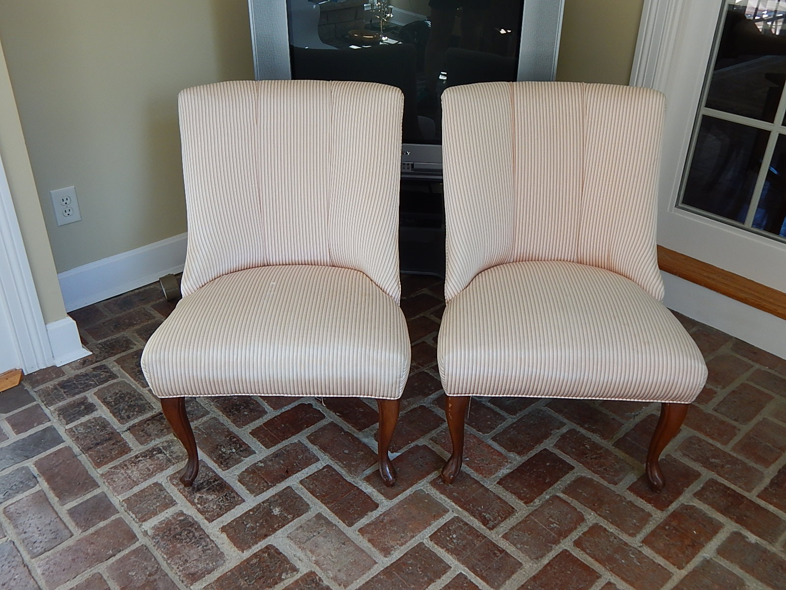 Pair Mauve and White Striped Chairs