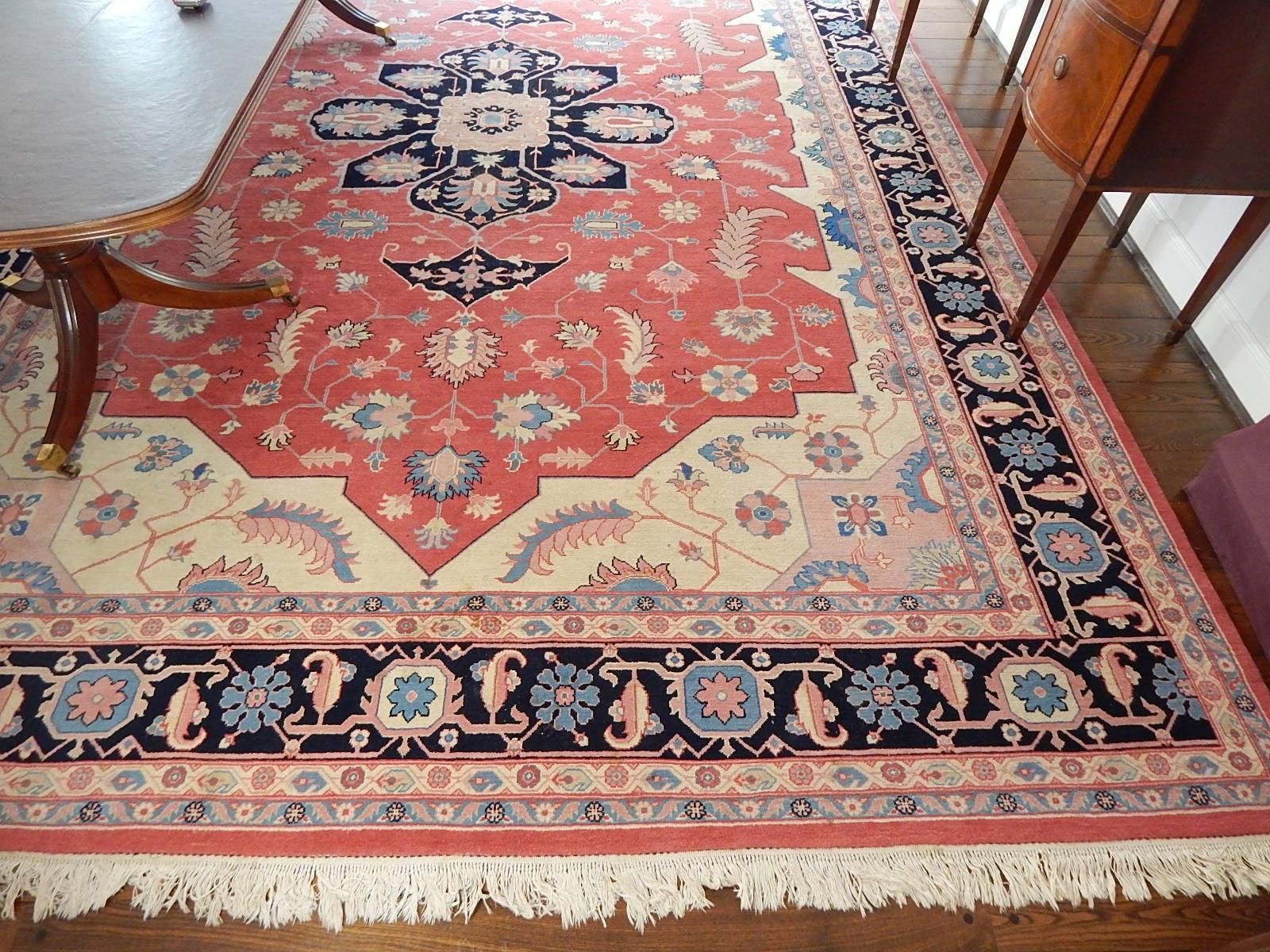 "Room-Sized Handmade Romanian ""Serapi"" Wool Area Rug"
