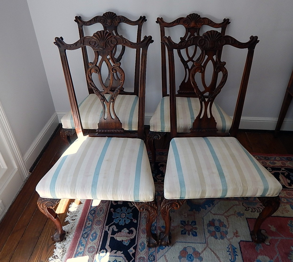 Four Walnut Dining Chairs