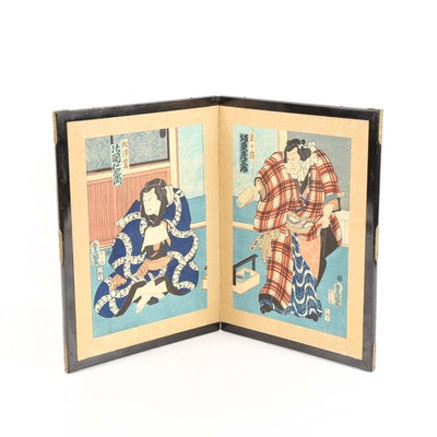 Japanese Woodblock Print Diptych Screen