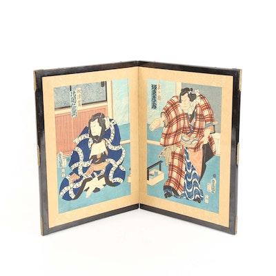 Japanese Woodblock Print Diptych Screen