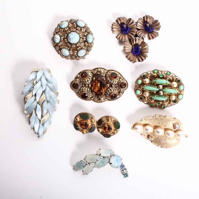 Collection of Ornate Vintage Costume Brooches