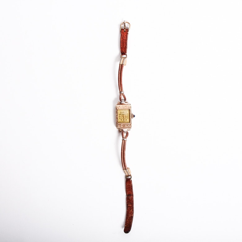 Vintage Sita 14K Yellow Gold and Leather Wristwatch