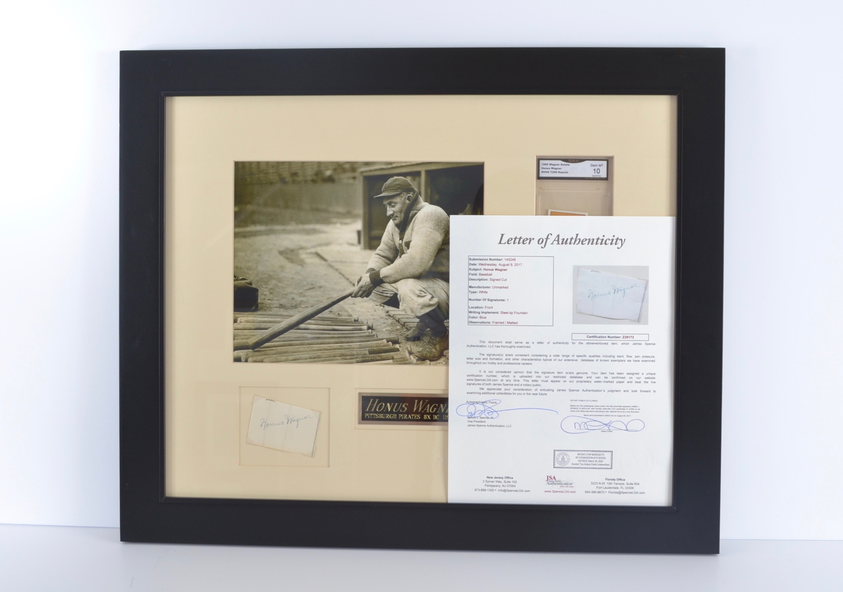 Honus Wagner Display with Autographed Cut - JSA COA