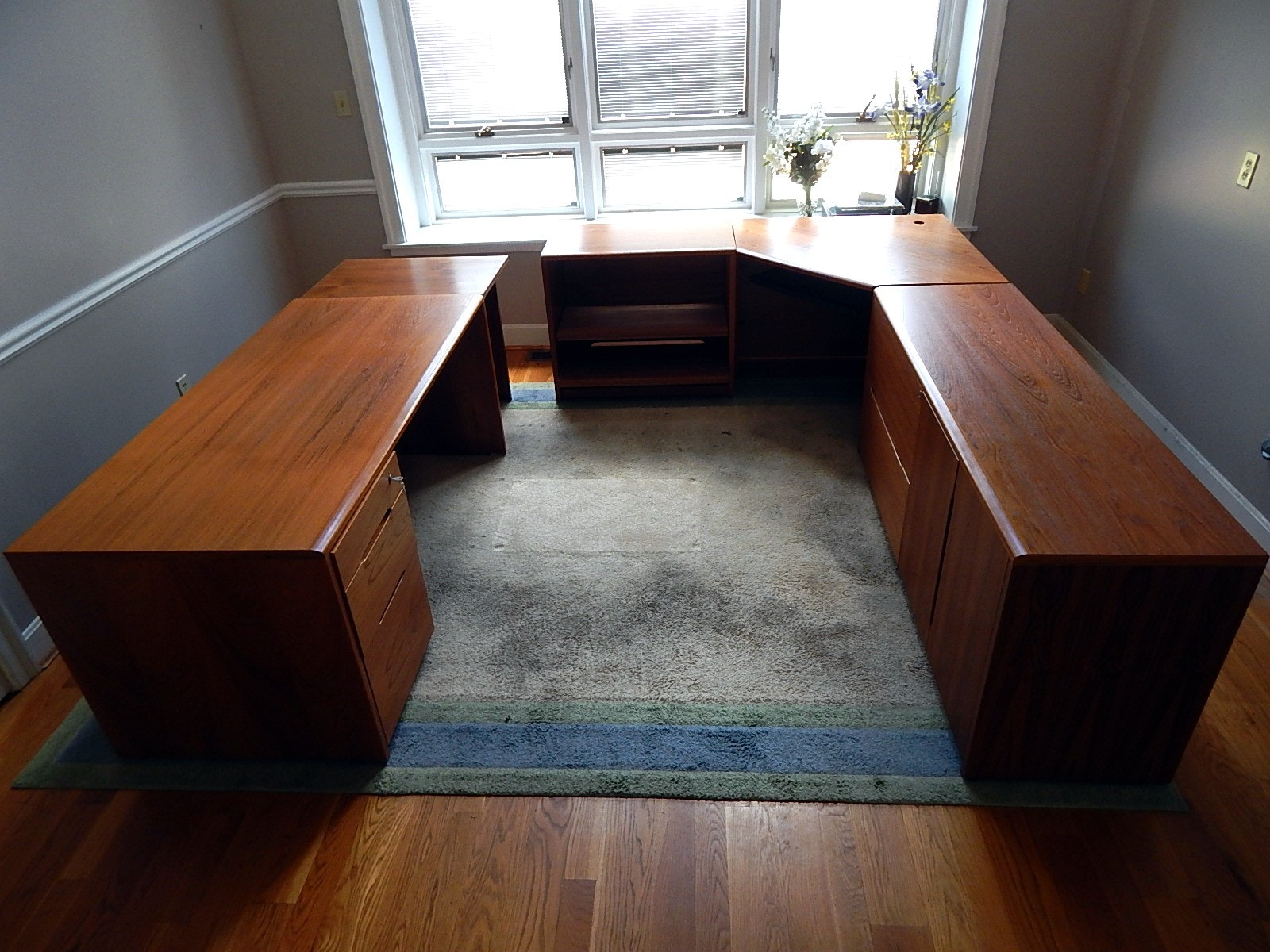 Large Solid Wood Executive Desk and Credenza