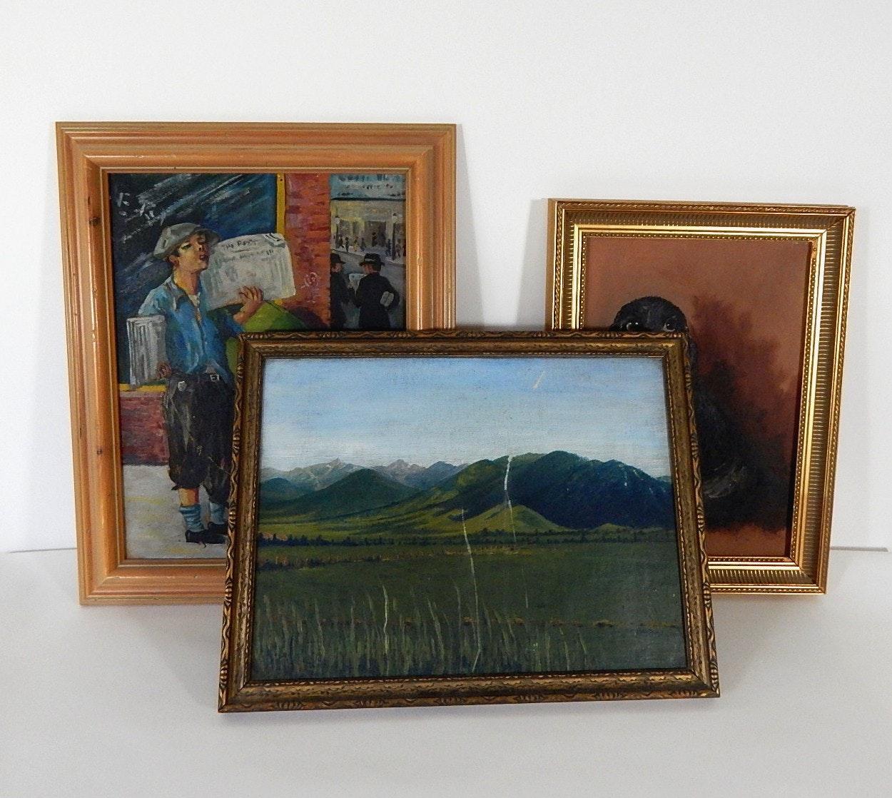 Three Vintage Original Paintings