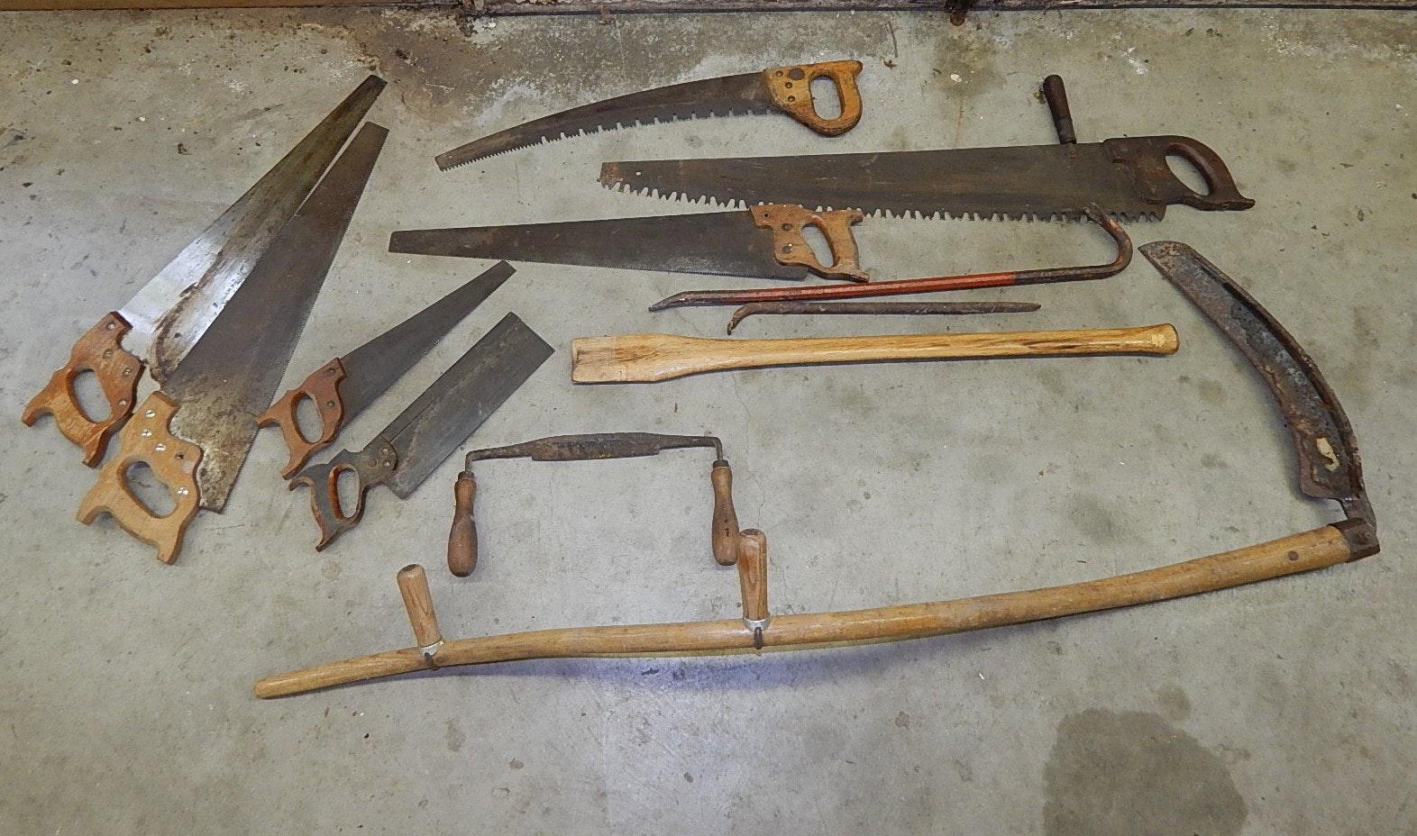 Vintage Tools, Saws, Scythe