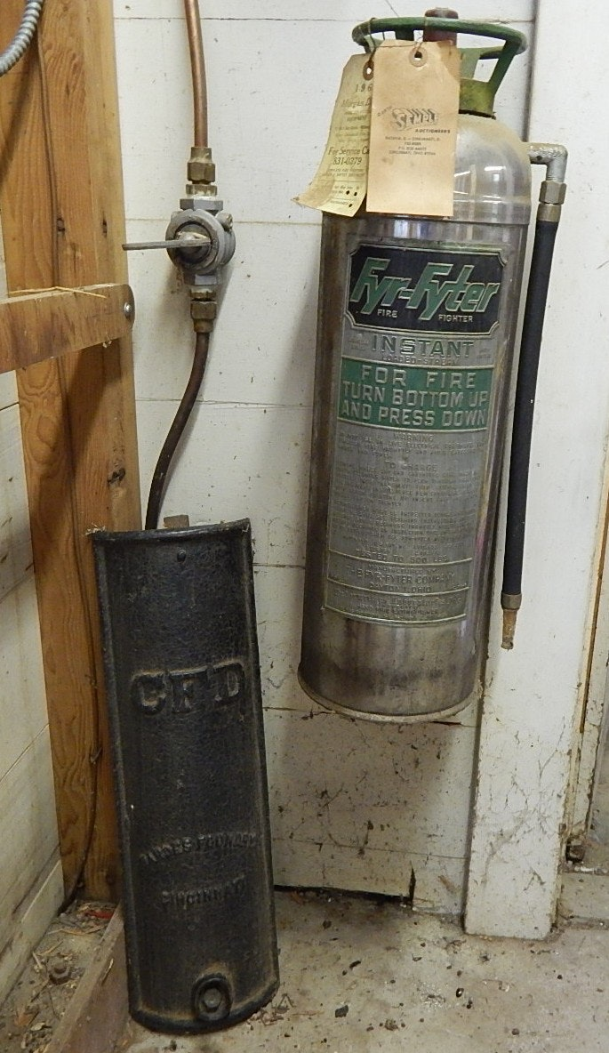 Vintage Fyr Fyter Extinguisher and C.F.D. Cast Iron Plate