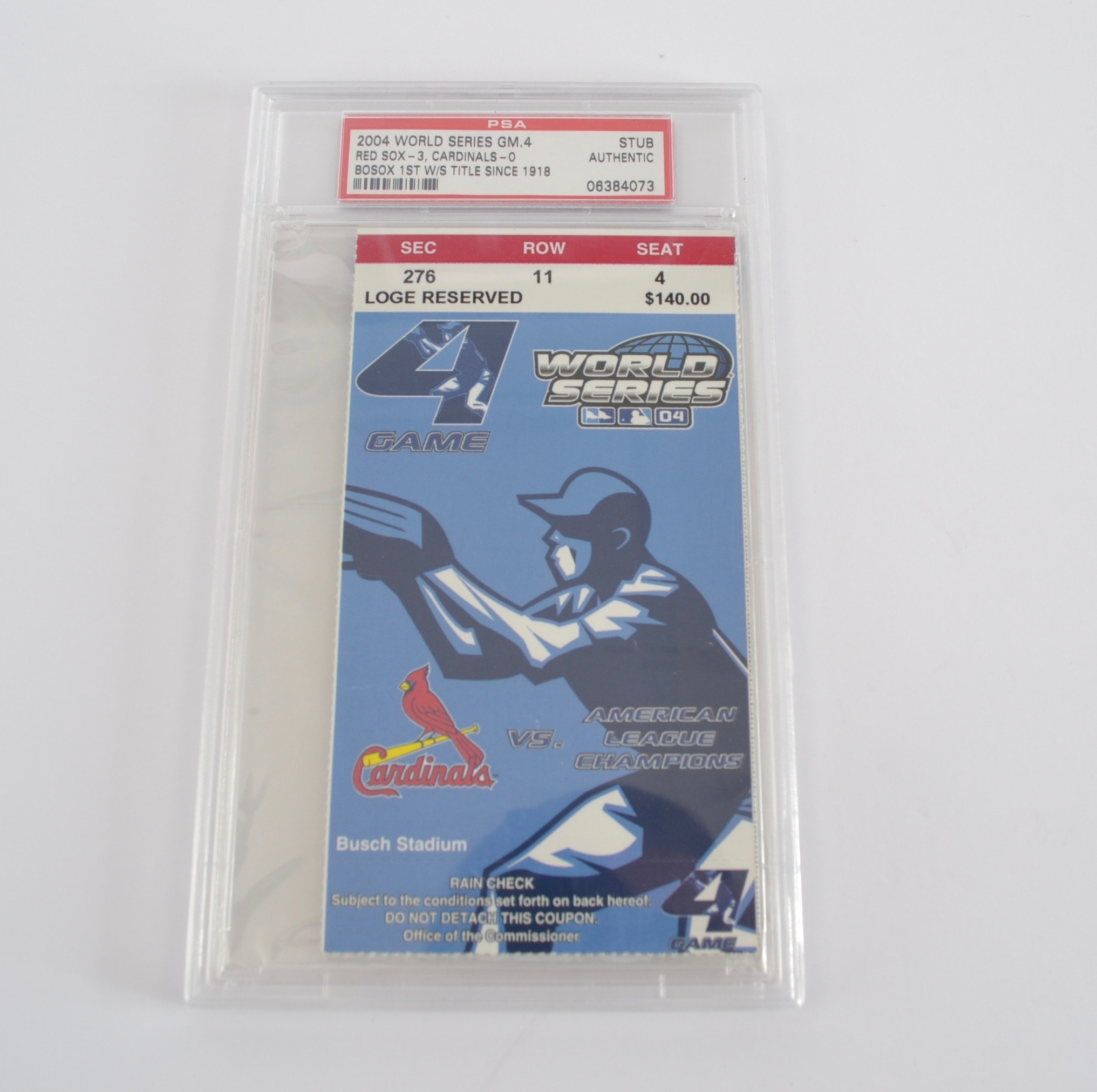 Game 4 2004 World Series Ticket Stub with PSA Encapsulation
