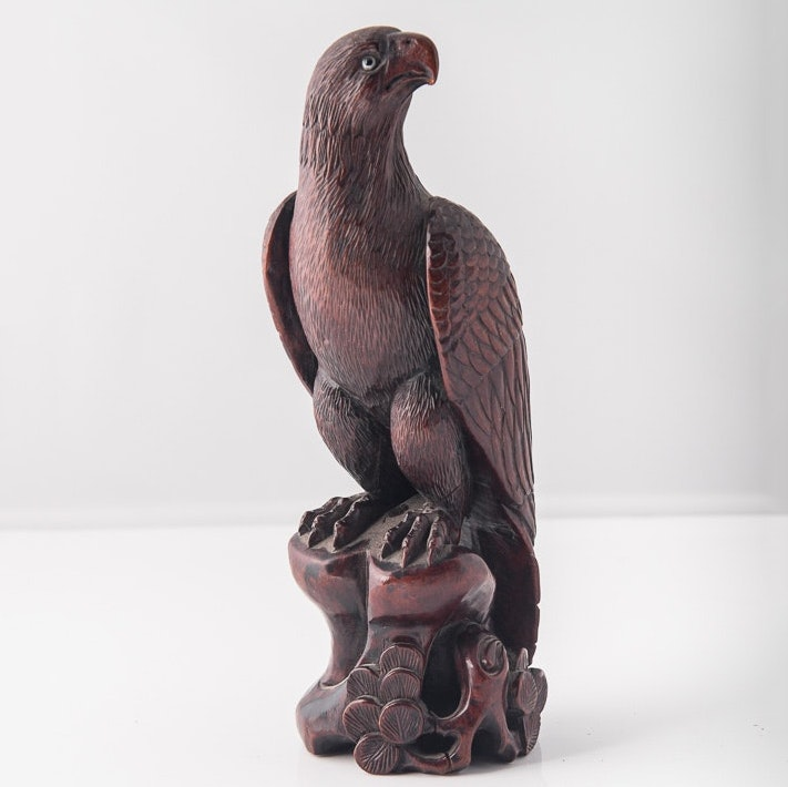 Meiji Era Japanese Carved Wood Eagle
