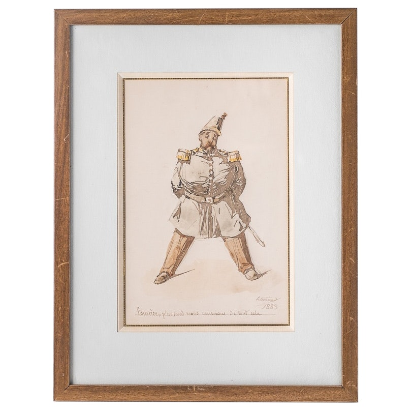Antique French Soldier Watercolor #1