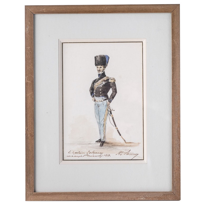 Antique French Soldier Watercolor #2