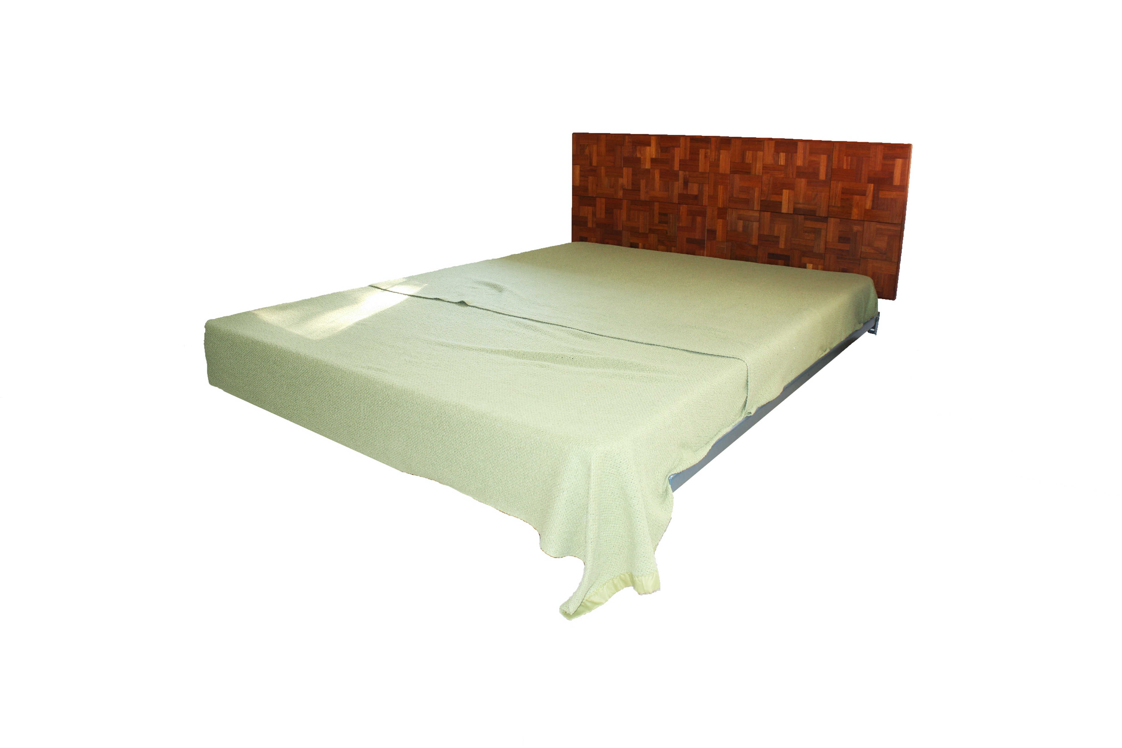 Vintage Queen-Size Parquet Headboard and Bed Frame