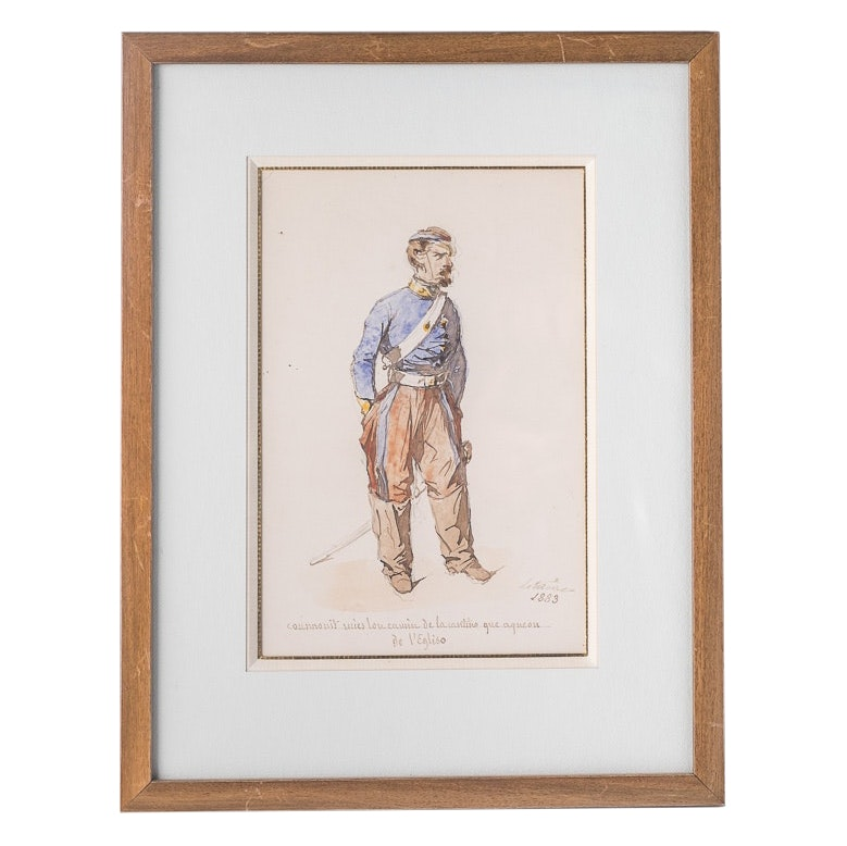 Antique French Soldier Watercolor #3