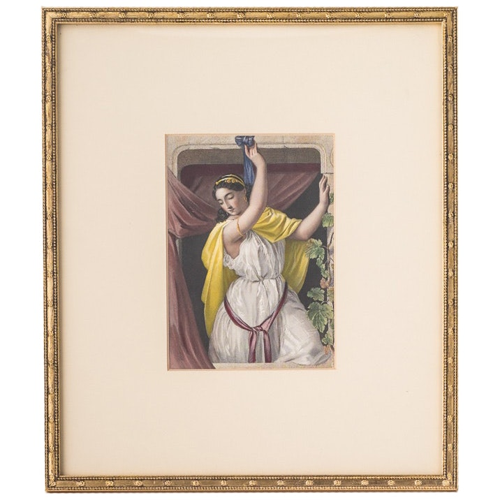 Hand Colored Engraving of Rahab After William Henry Egleton