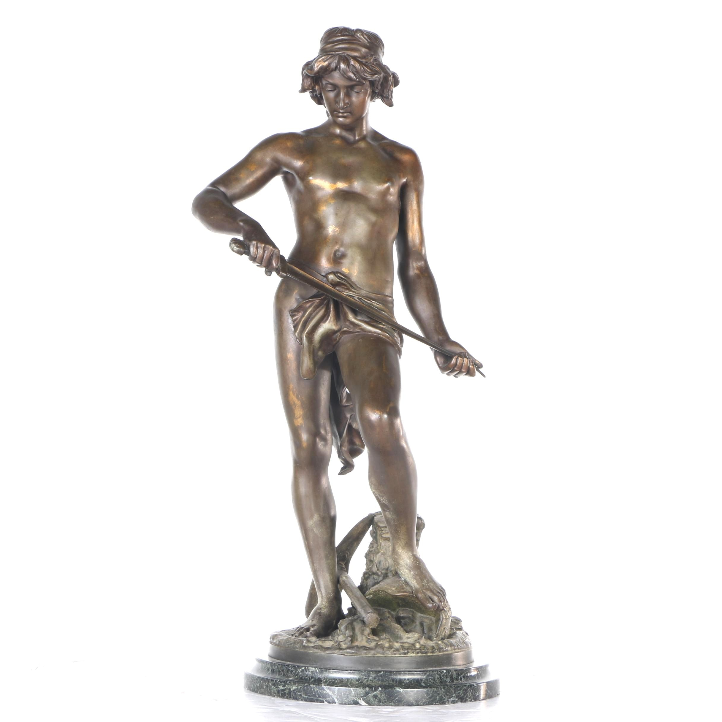 Bronze Tone Metal Gladiator Figure After Adrien Étienne Gaudez