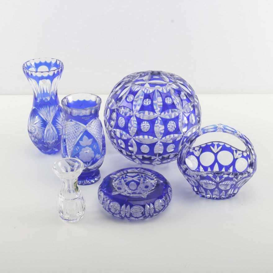 Blue Cut Glass Vases And Bowls Ebth