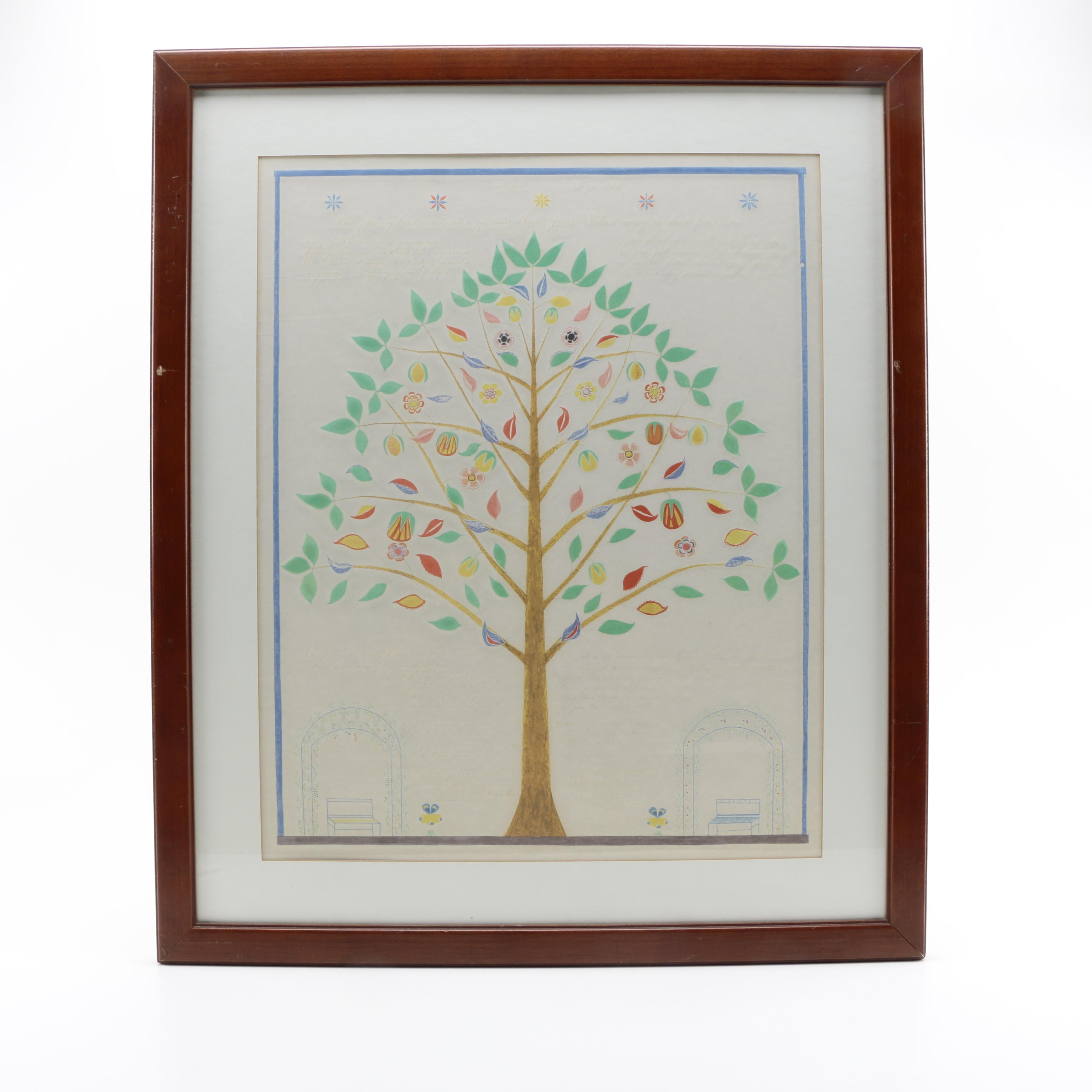 "Embellished Serigraph After Shaker Spirit Drawing ""Heavenly Tree"""