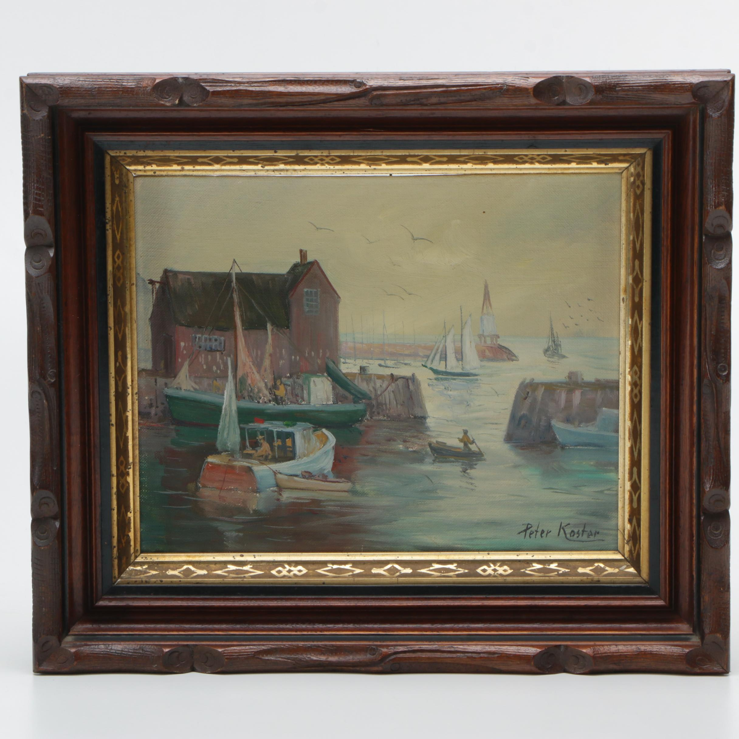 Peter Koster Oil Painting on Board of a Harbor