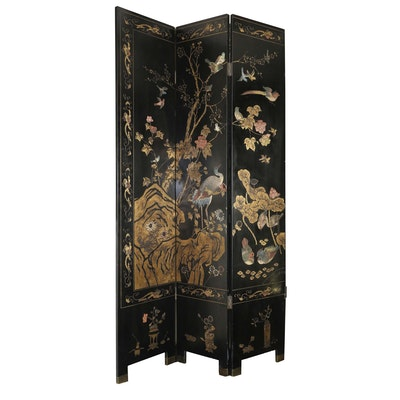 Chinese Coromandel Lacquer Hand Carved Folding Screen