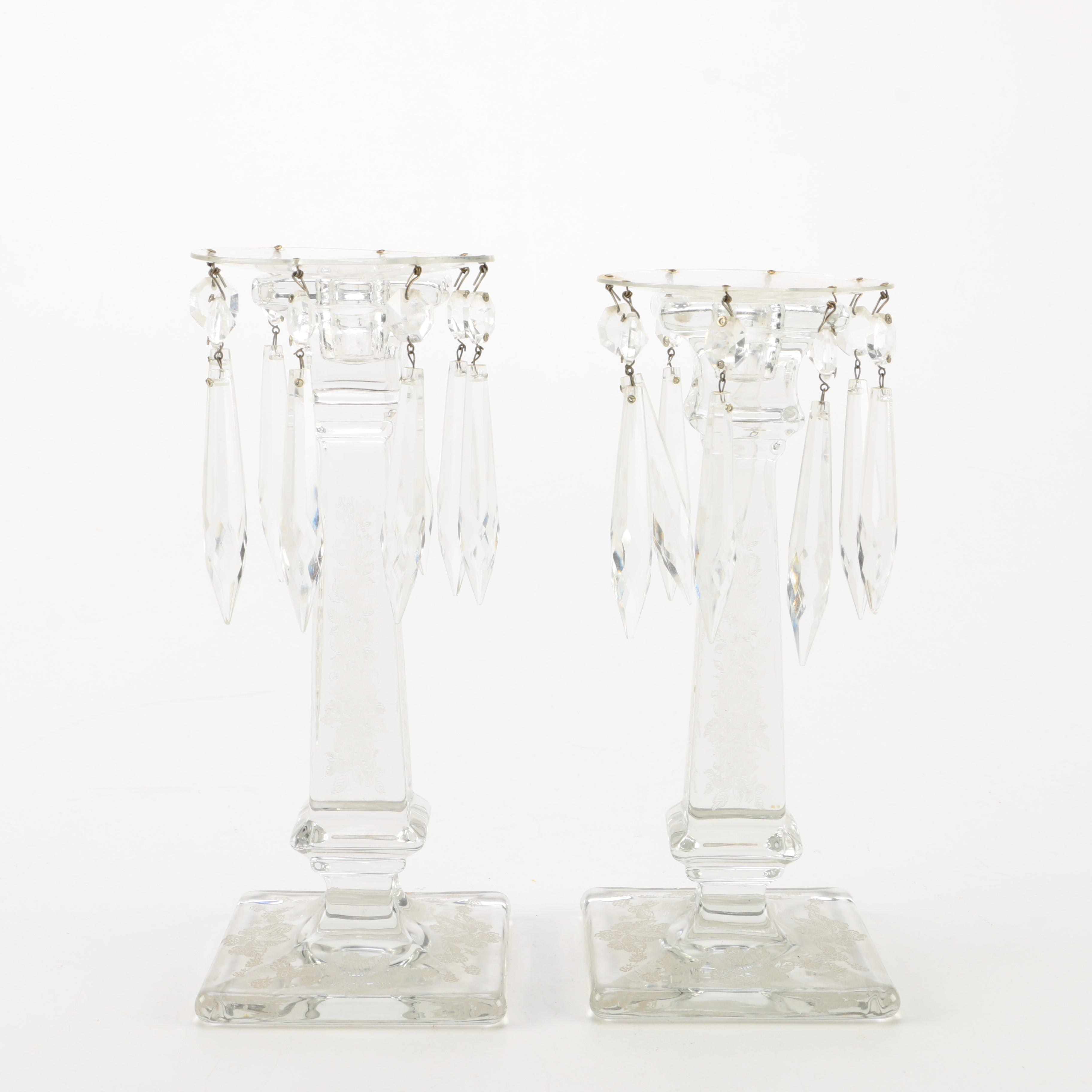 Pair of Crystal Candle Holders with Prisms