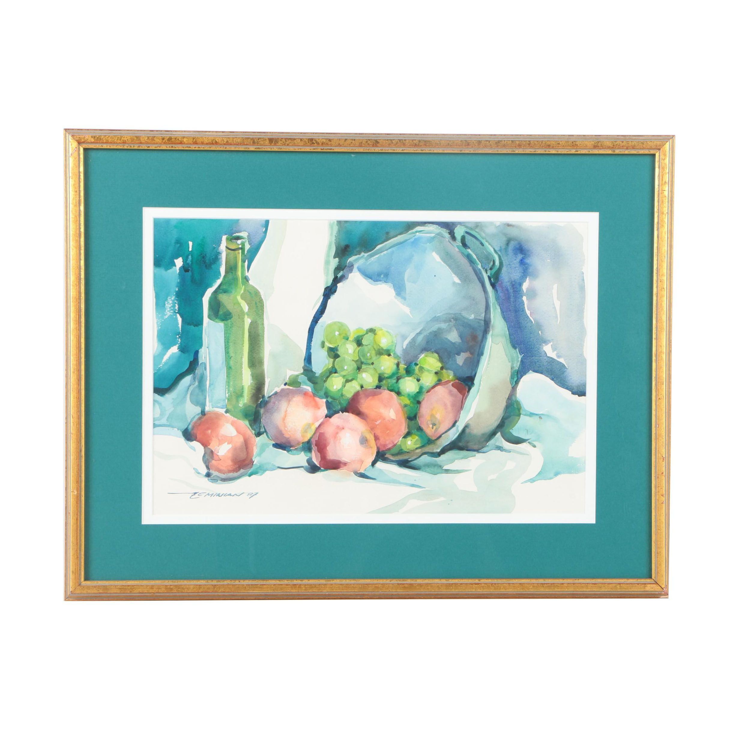 Zeminian Watercolor Still Life on Paper of Fruit and Wine