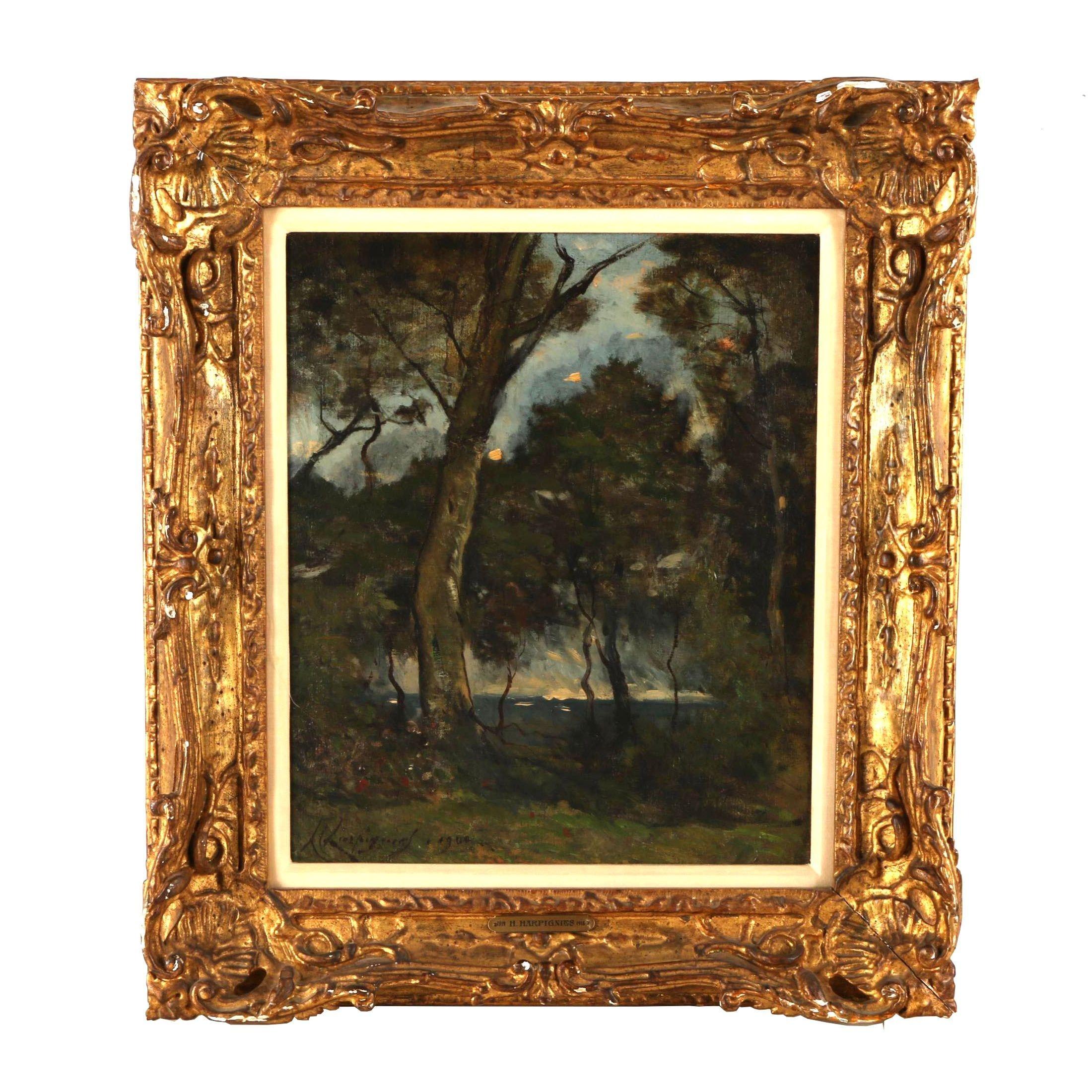 Henri-Joseph Harpignies Oil Painting of Woodland Landscape