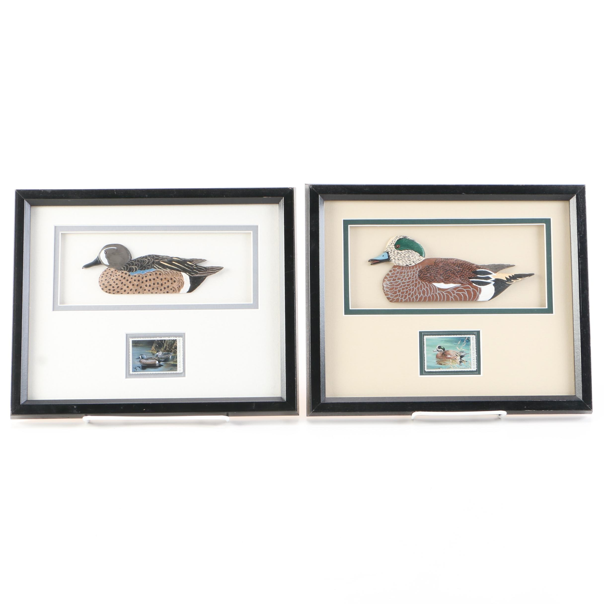 After Wilhelm Goebel and Ralph McDonald Carved Wooden Duck Reliefs