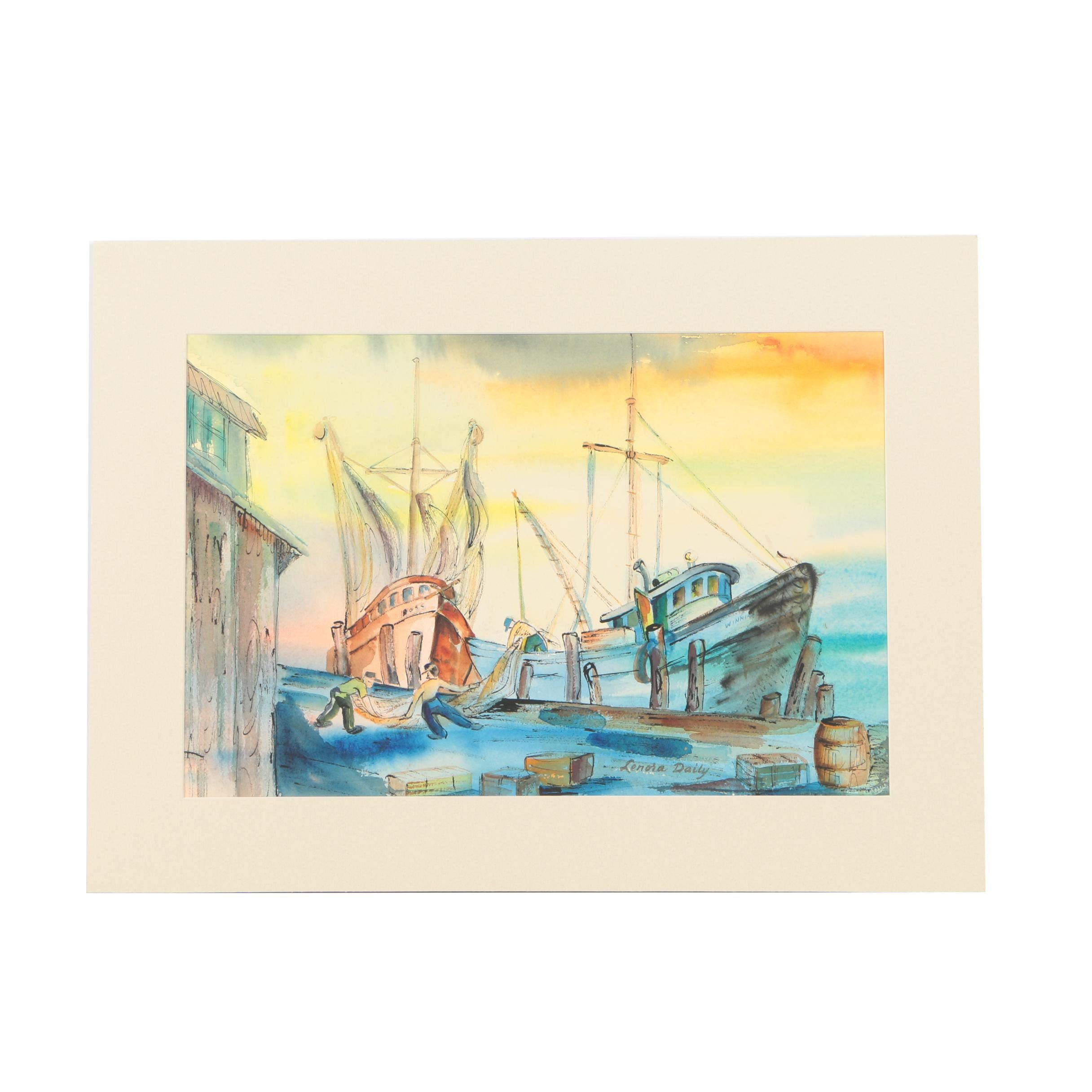 Lenora Daily Ink and Watercolor of Dock Workers and a Ship