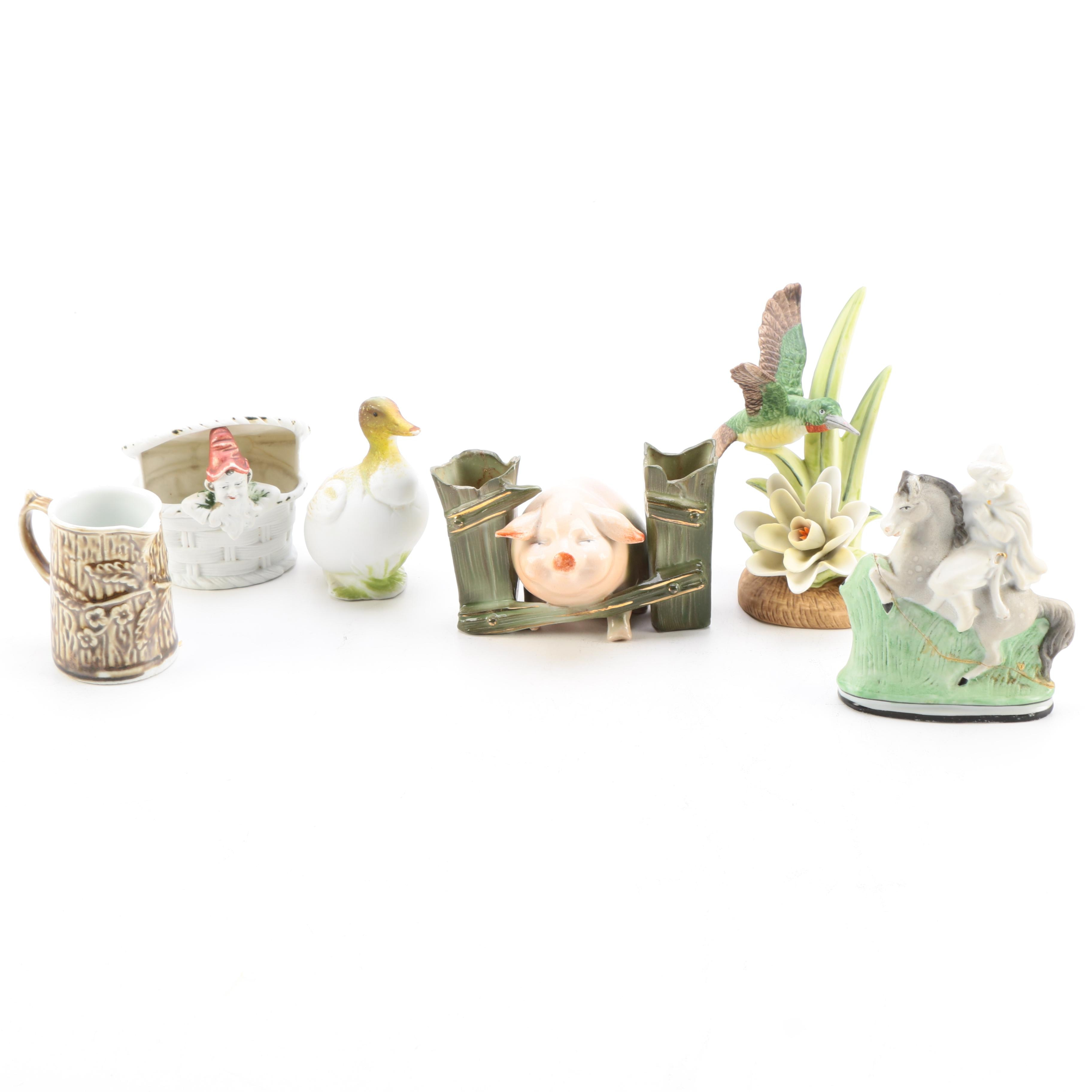 Collection of Porcelain and Ceramic Figurines and Decor including Royal Heritage