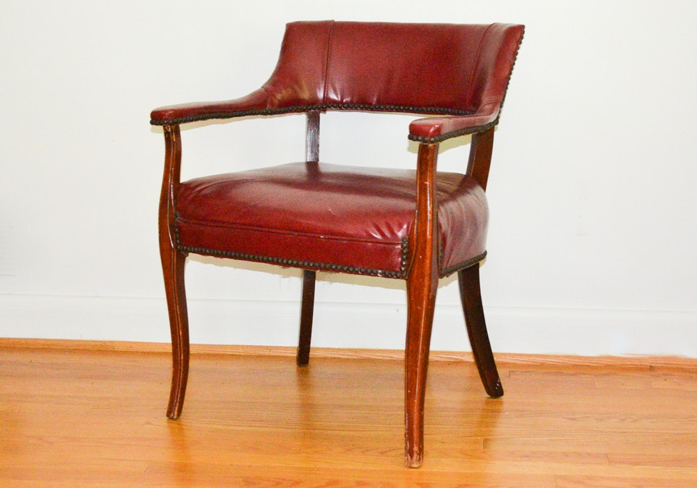 Vintage Red Leather Barrel Back Armchair